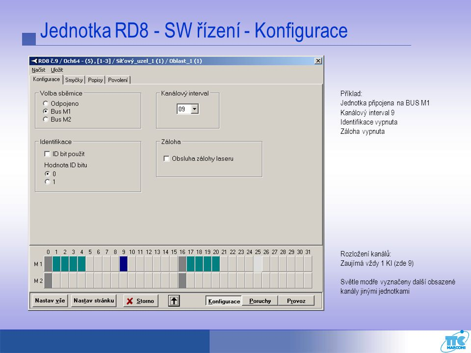 Jednotka RD8 - SW řízení - Konfigurace