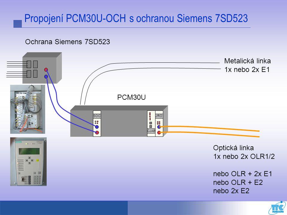 Propojení PCM30U-OCH s ochranou Siemens 7SD523