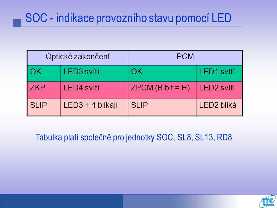 SOC - indikace provozního stavu pomocí LED