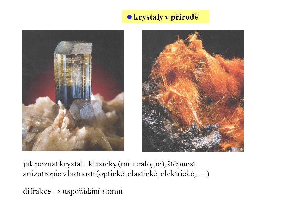 krystaly v přírodě jak poznat krystal: klasicky (mineralogie), štěpnost, anizotropie vlastností (optické, elastické, elektrické,….)