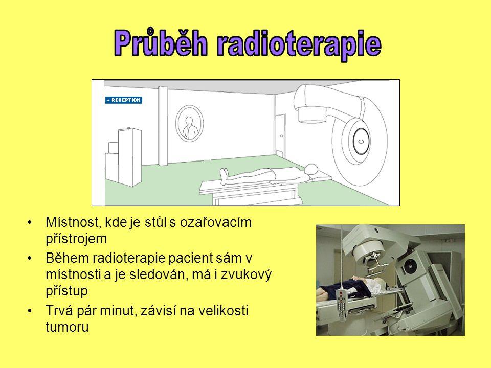Průběh radioterapie Místnost, kde je stůl s ozařovacím přístrojem