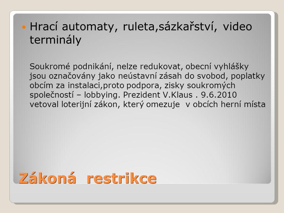 Zákoná restrikce Hrací automaty, ruleta,sázkařství, video terminály