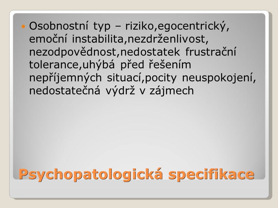 Psychopatologická specifikace