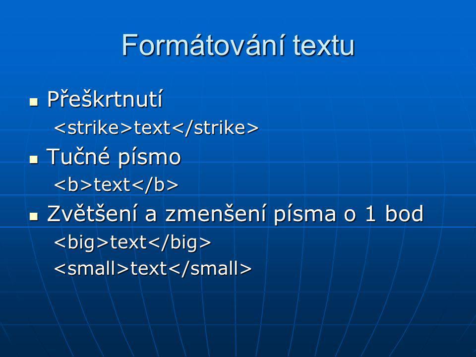Formátování textu Přeškrtnutí Tučné písmo
