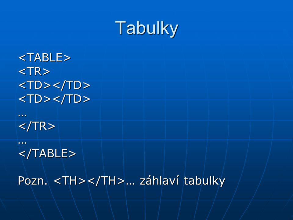 Tabulky <TABLE> <TR> <TD></TD> … </TR>