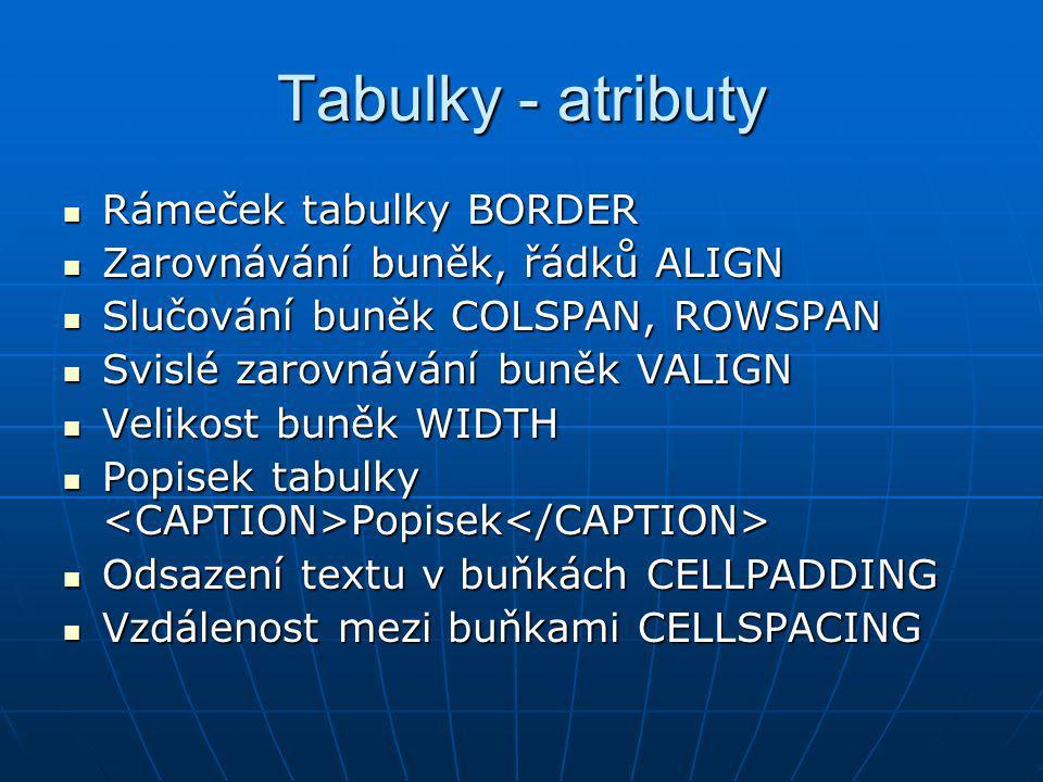 Tabulky - atributy Rámeček tabulky BORDER
