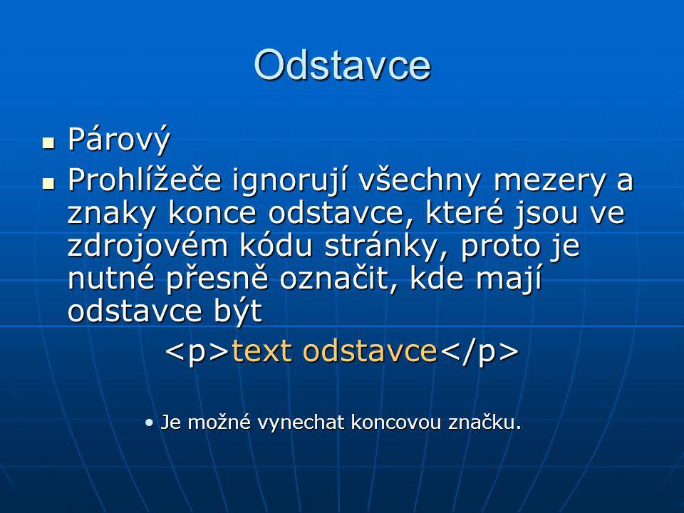 <p>text odstavce</p>