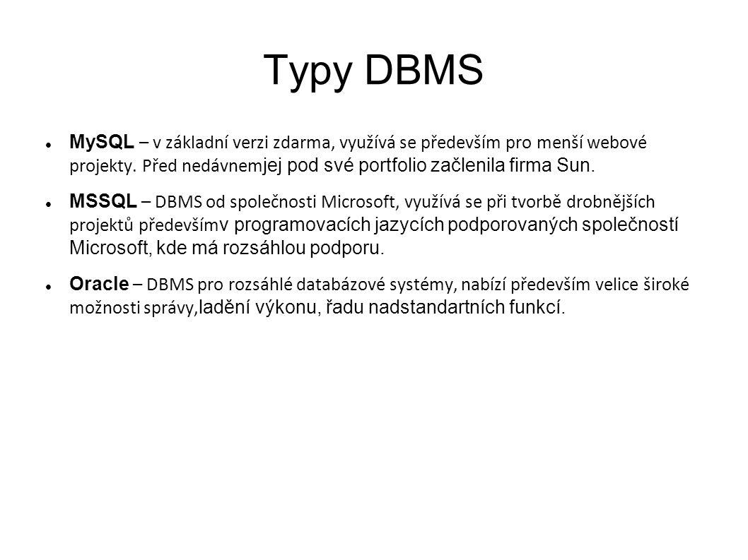 Typy DBMS MySQL – v základní verzi zdarma, využívá se především pro menší webové projekty. Před nedávnemjej pod své portfolio začlenila firma Sun.