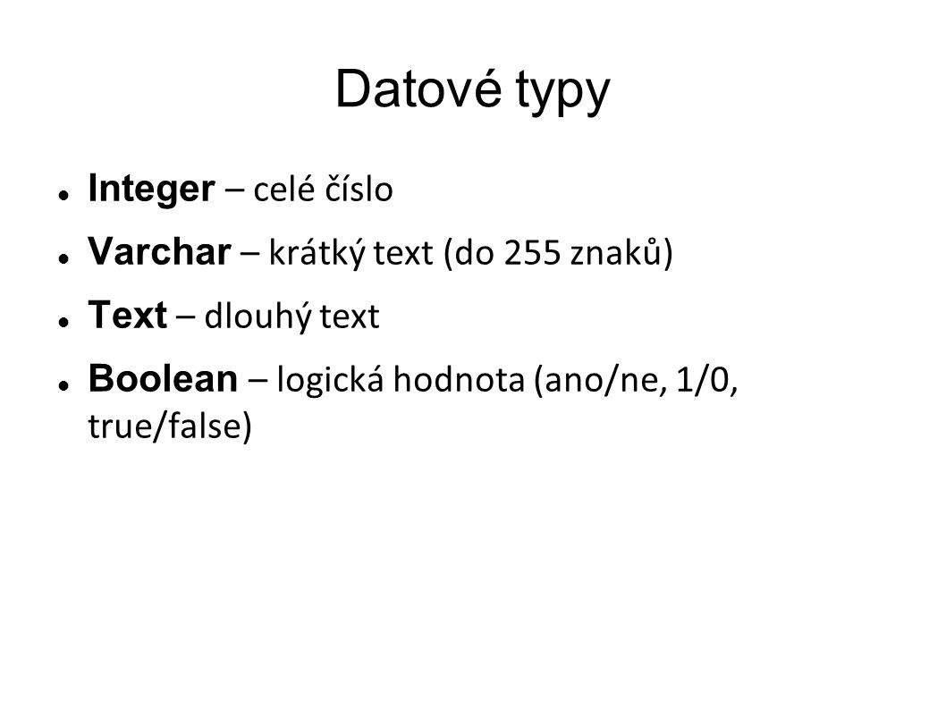 Datové typy Integer – celé číslo Varchar – krátký text (do 255 znaků)