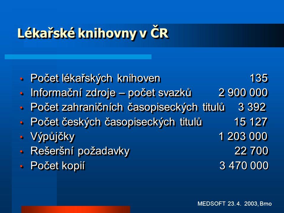 Lékařské knihovny v ČR Počet lékařských knihoven 135