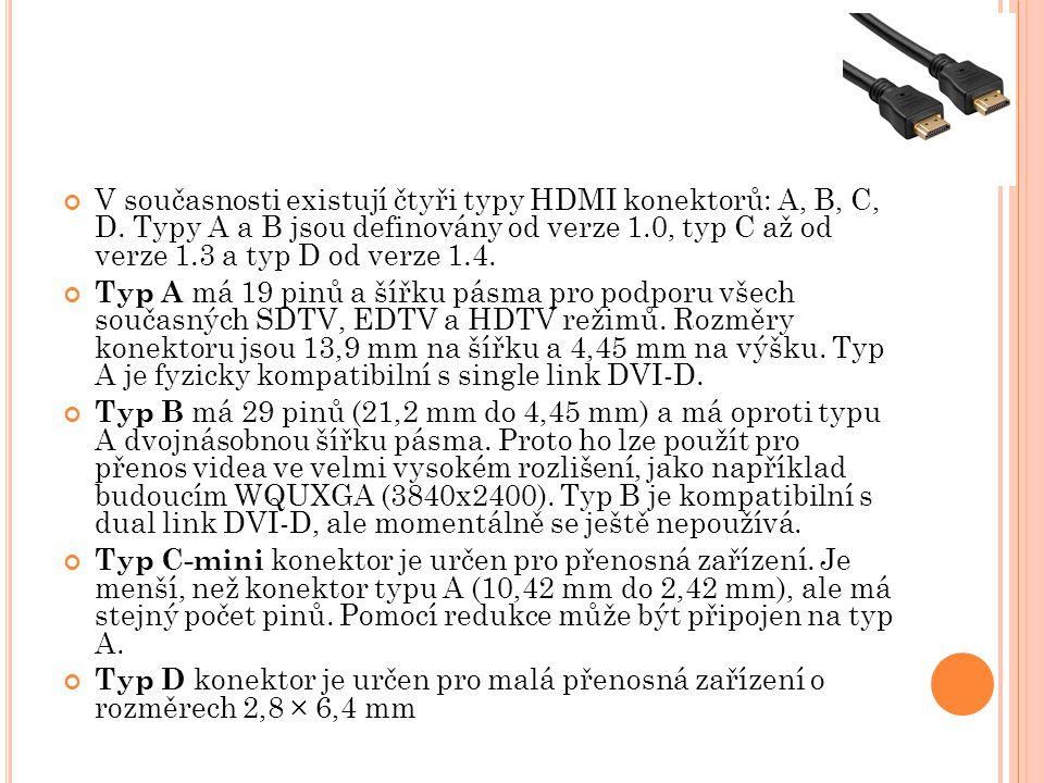 V současnosti existují čtyři typy HDMI konektorů: A, B, C, D