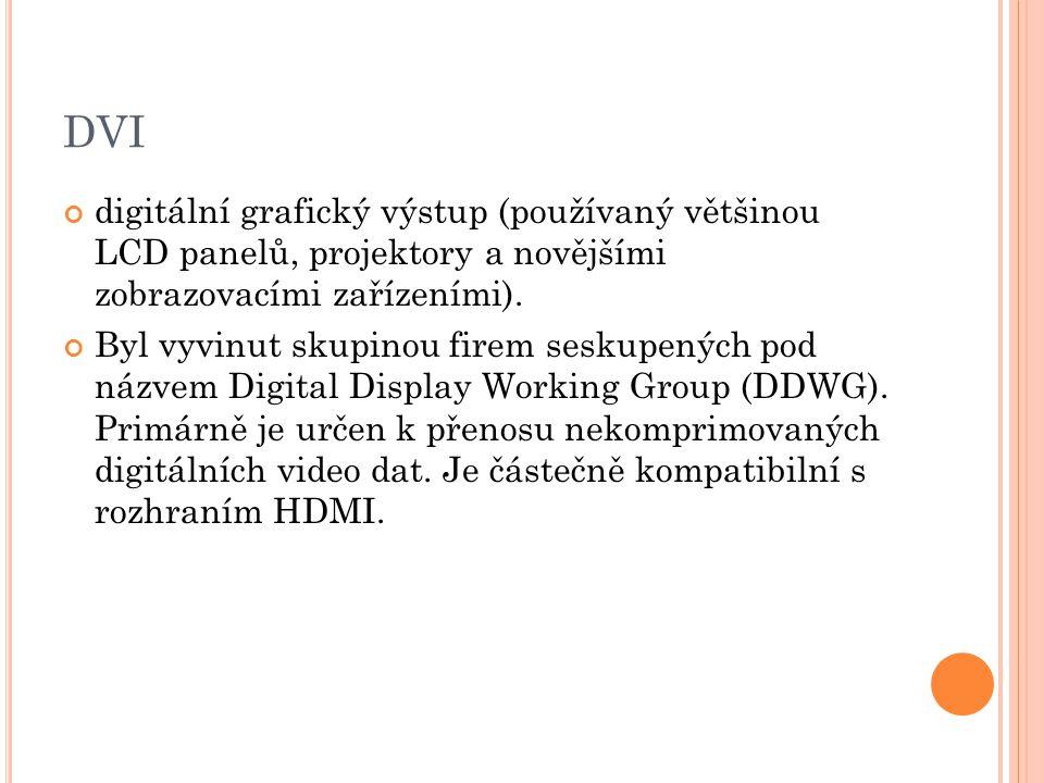 DVI digitální grafický výstup (používaný většinou LCD panelů, projektory a novějšími zobrazovacími zařízeními).