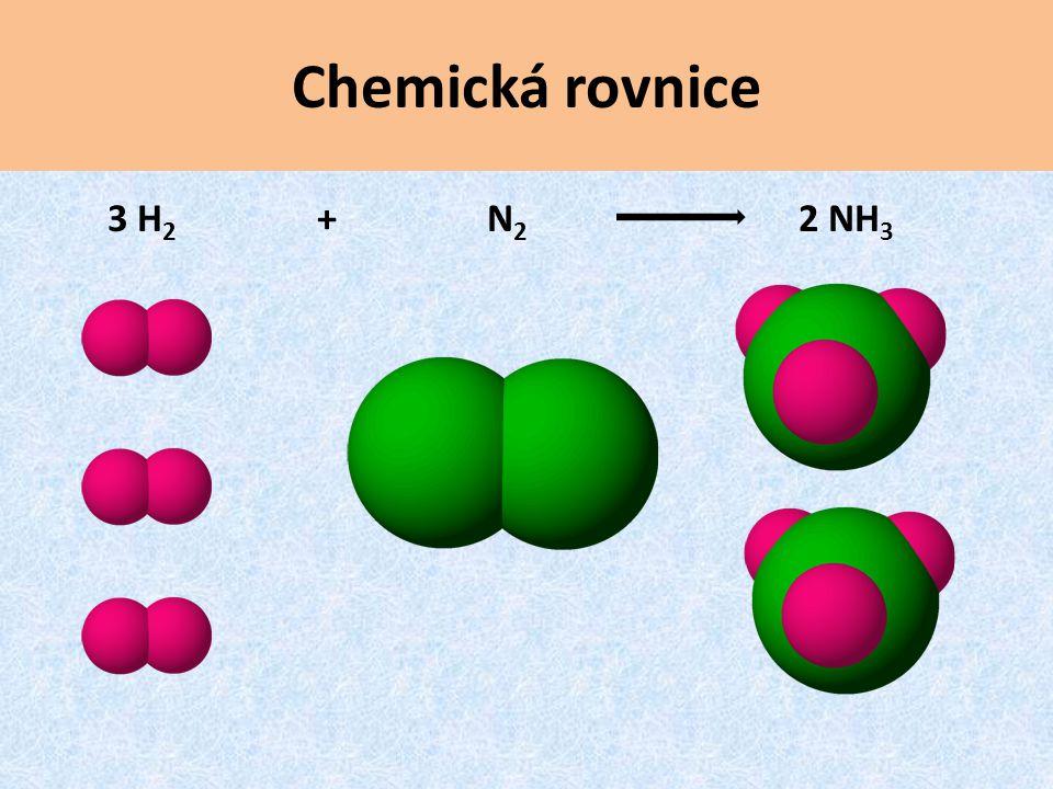 Chemická rovnice 3 H2 + N2 2 NH3