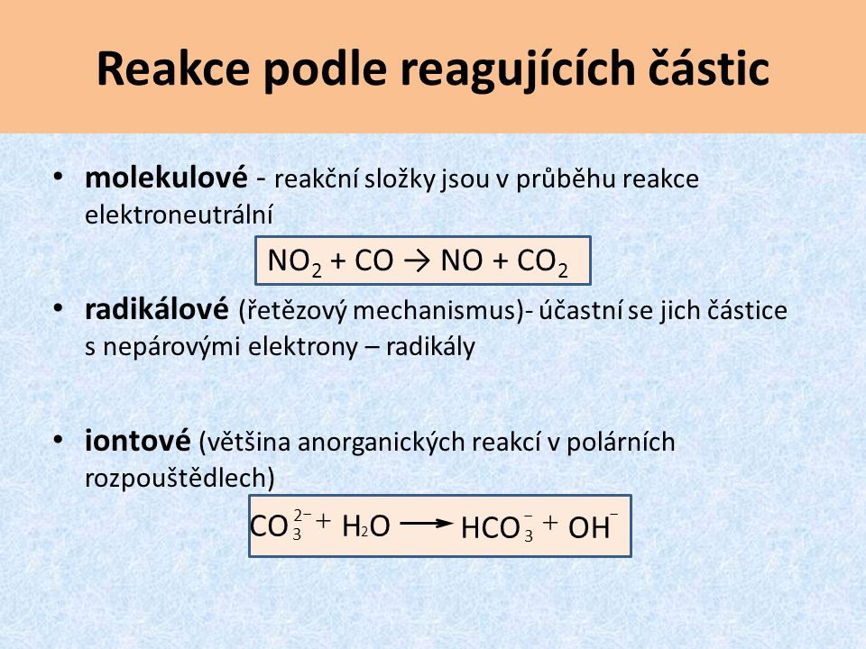 Reakce podle reagujících částic