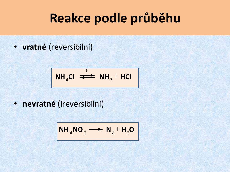 Reakce podle průběhu vratné (reversibilní) nevratné (ireversibilní)