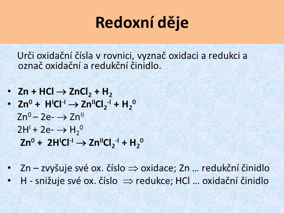 Redoxní děje Urči oxidační čísla v rovnici, vyznač oxidaci a redukci a označ oxidační a redukční činidlo.