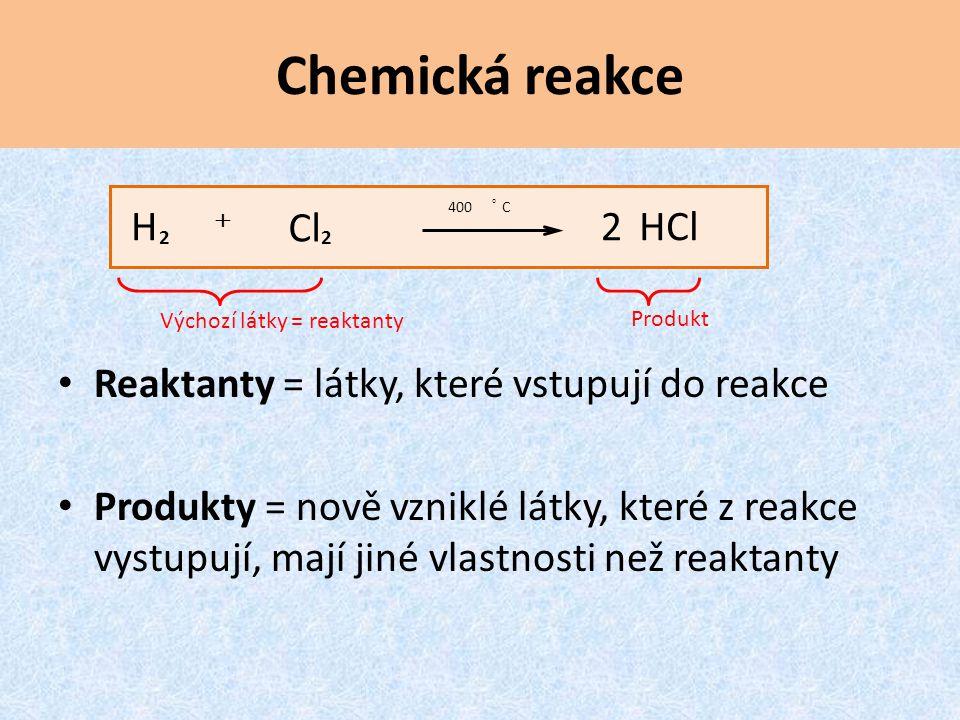 Chemická reakce Reaktanty = látky, které vstupují do reakce
