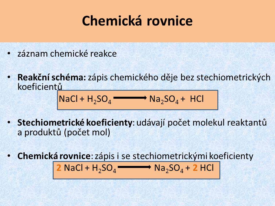 Chemická rovnice záznam chemické reakce