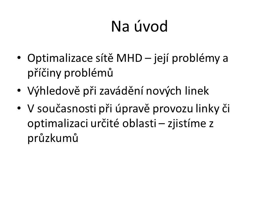Na úvod Optimalizace sítě MHD – její problémy a příčiny problémů