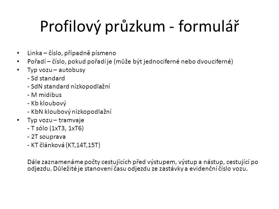 Profilový průzkum - formulář