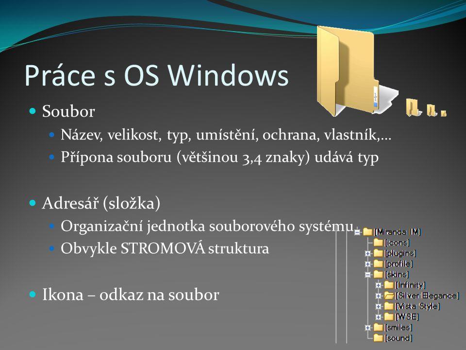 Práce s OS Windows Soubor Adresář (složka) Ikona – odkaz na soubor