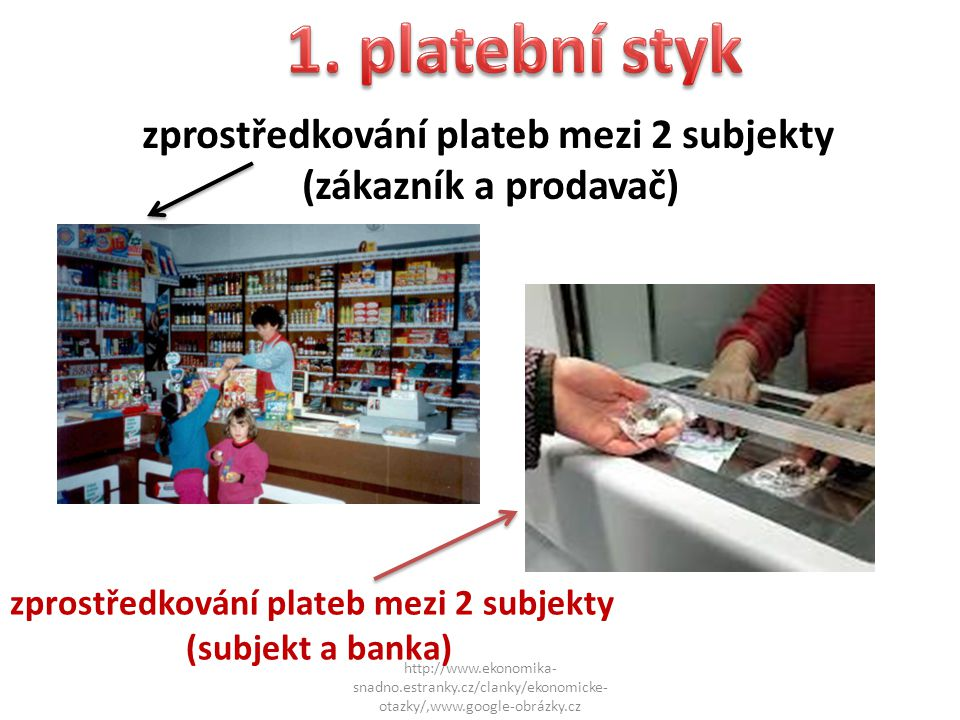 1. platební styk zprostředkování plateb mezi 2 subjekty