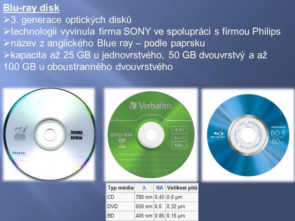 Blu-ray disk 3. generace optických disků. technologii vyvinula firma SONY ve spolupráci s firmou Philips.