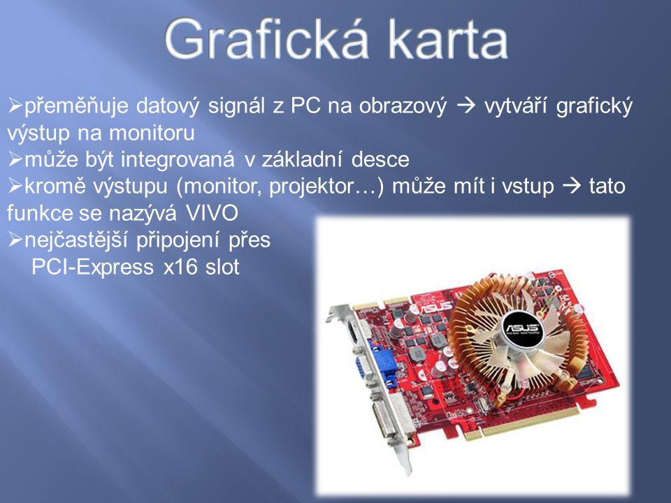 Grafická karta přeměňuje datový signál z PC na obrazový  vytváří grafický výstup na monitoru. může být integrovaná v základní desce.