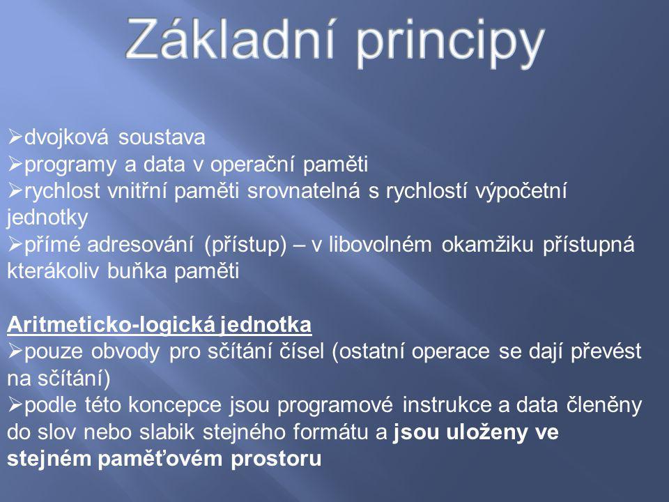 Základní principy dvojková soustava programy a data v operační paměti