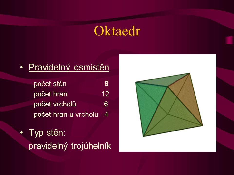 Oktaedr Pravidelný osmistěn Typ stěn: pravidelný trojúhelník