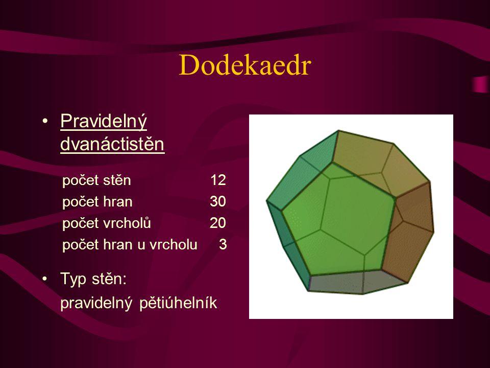 Dodekaedr Pravidelný dvanáctistěn Typ stěn: pravidelný pětiúhelník