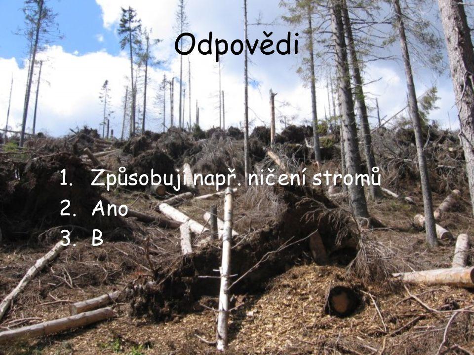 Odpovědi Způsobují např. ničení stromů Ano B
