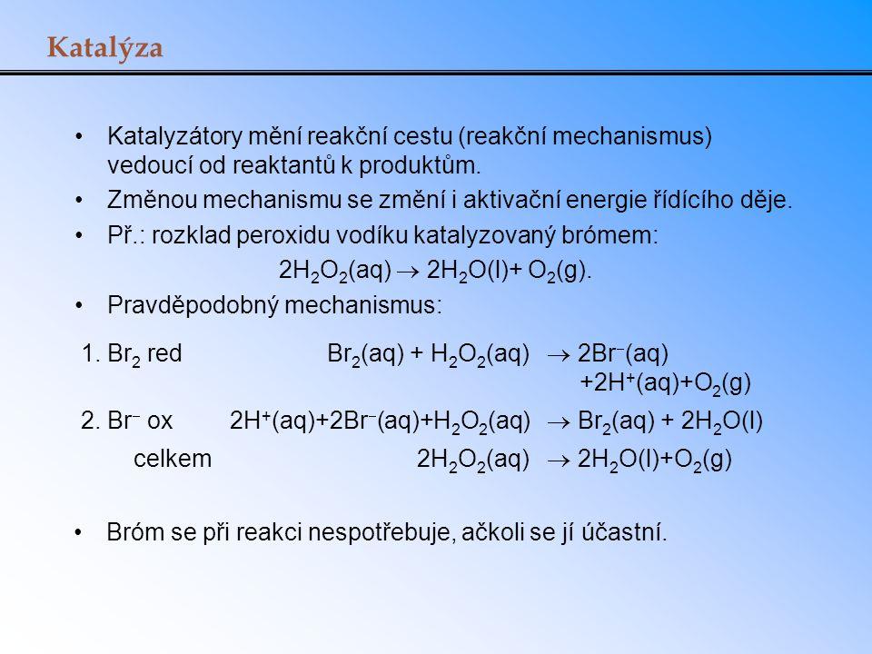 Katalýza Katalyzátory mění reakční cestu (reakční mechanismus) vedoucí od reaktantů k produktům.