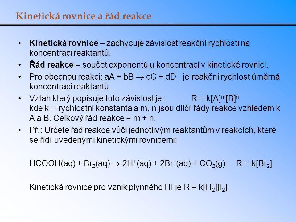 Kinetická rovnice a řád reakce