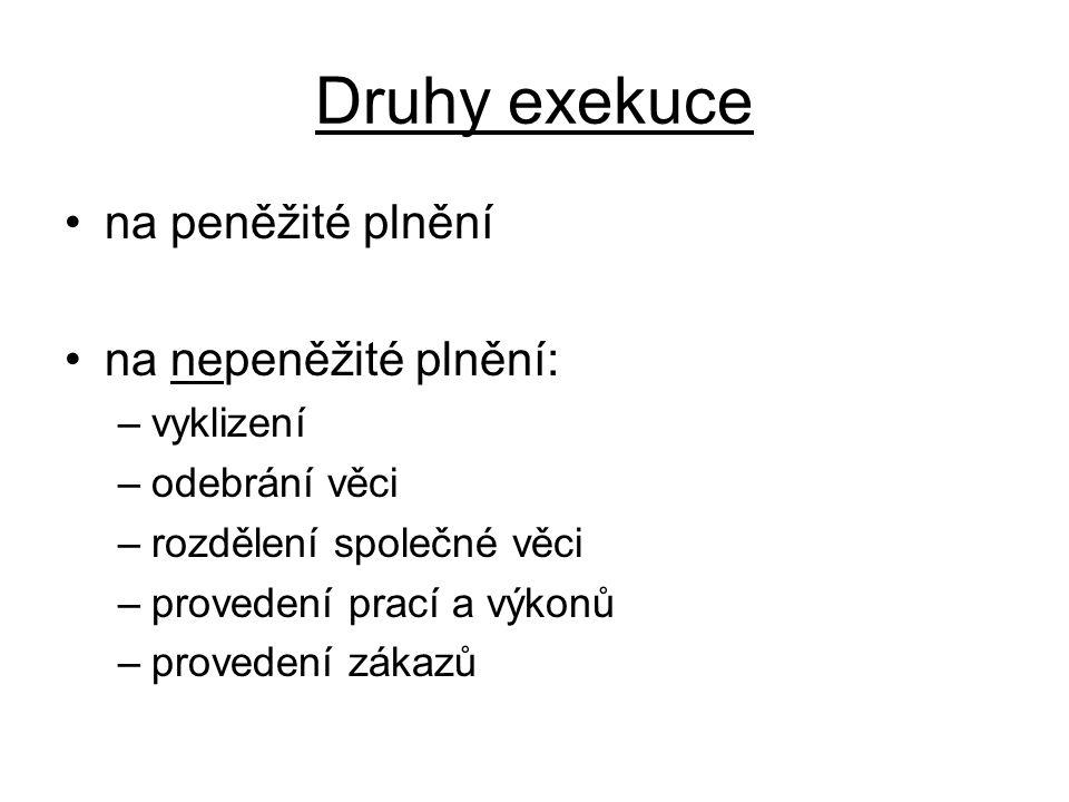 Druhy exekuce na peněžité plnění na nepeněžité plnění: vyklizení