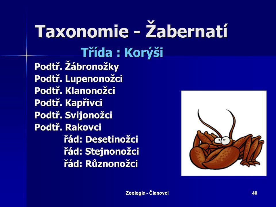 Taxonomie - Žabernatí Třída : Korýši Podtř. Žábronožky