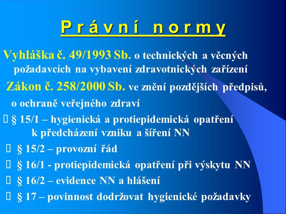 P r á v n í n o r m y Vyhláška č. 49/1993 Sb. o technických a věcných požadavcích na vybavení zdravotnických zařízení.