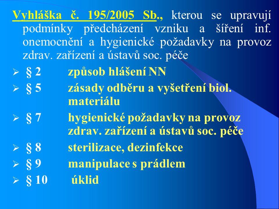 Vyhláška č. 195/2005 Sb., kterou se upravují podmínky předcházení vzniku a šíření inf. onemocnění a hygienické požadavky na provoz zdrav. zařízení a ústavů soc. péče