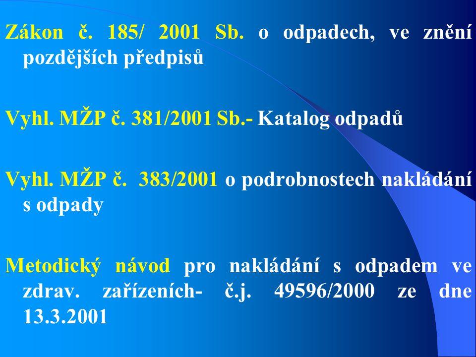 Zákon č. 185/ 2001 Sb. o odpadech, ve znění pozdějších předpisů