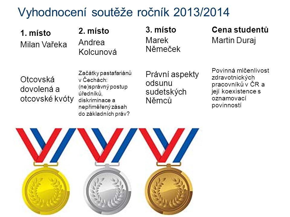 Vyhodnocení soutěže ročník 2013/2014