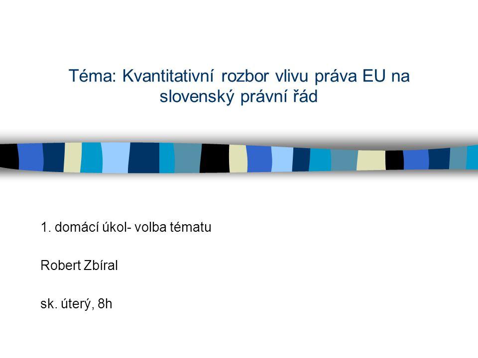 Téma: Kvantitativní rozbor vlivu práva EU na slovenský právní řád