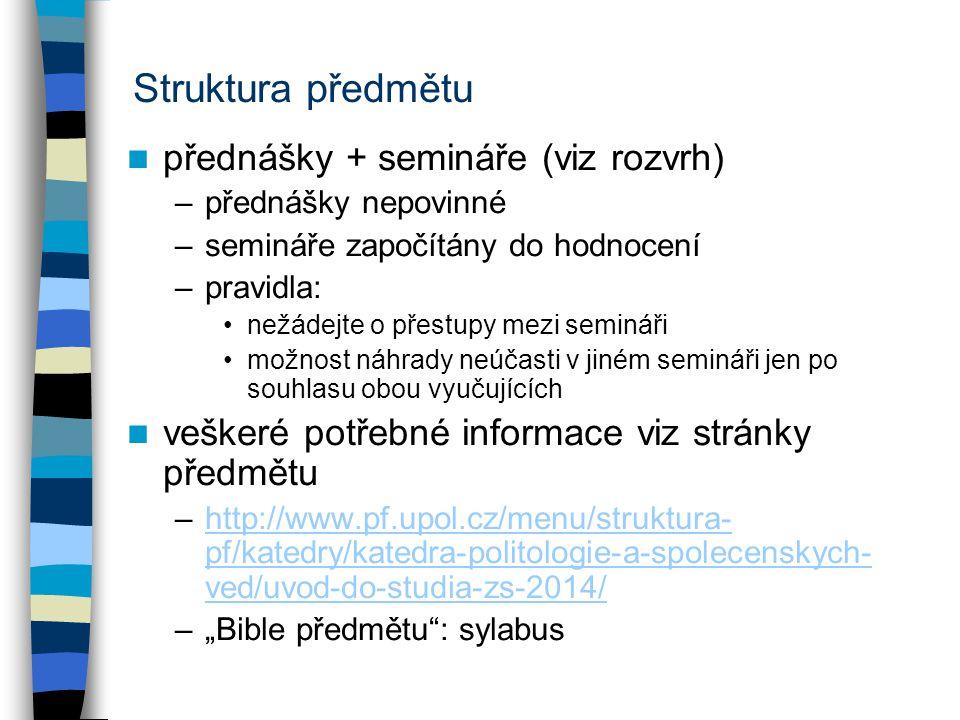 Struktura předmětu přednášky + semináře (viz rozvrh)