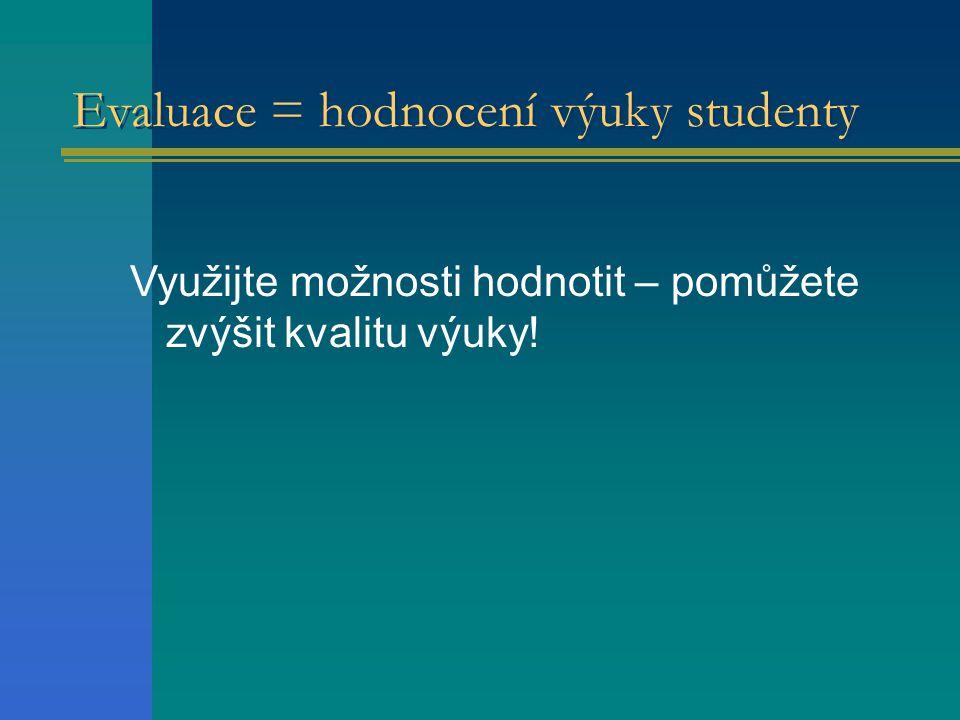 Evaluace = hodnocení výuky studenty
