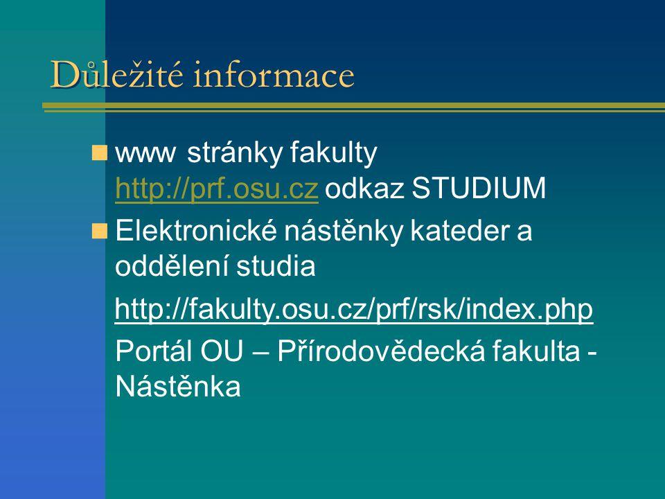 Důležité informace www stránky fakulty http://prf.osu.cz odkaz STUDIUM