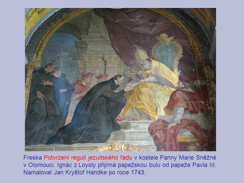 Freska Potvrzení regulí jezuitského řádu v kostele Panny Marie Sněžné