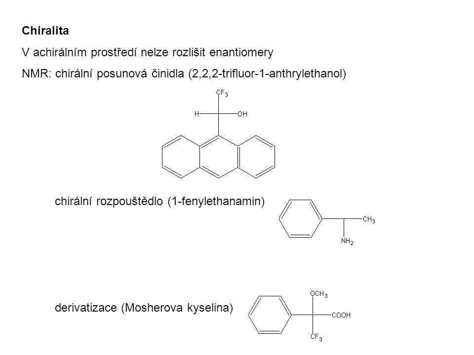 Chiralita V achirálním prostředí nelze rozlišit enantiomery. NMR: chirální posunová činidla (2,2,2-trifluor-1-anthrylethanol)