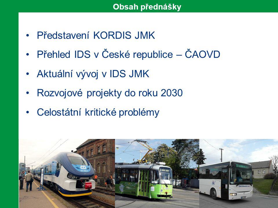 Představení KORDIS JMK Přehled IDS v České republice – ČAOVD