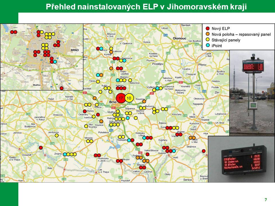 Přehled nainstalovaných ELP v Jihomoravském kraji