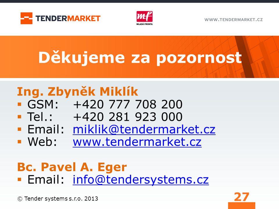 Děkujeme za pozornost Ing. Zbyněk Miklík GSM: +420 777 708 200
