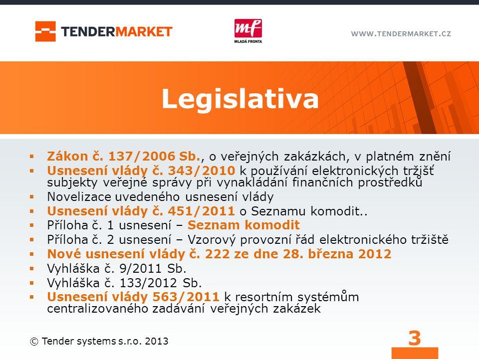 Legislativa Zákon č. 137/2006 Sb., o veřejných zakázkách, v platném znění.